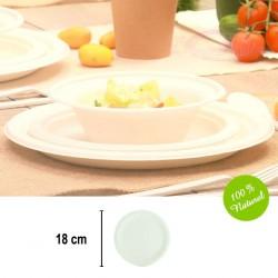 25 petites assiettes rondes Biodégradables