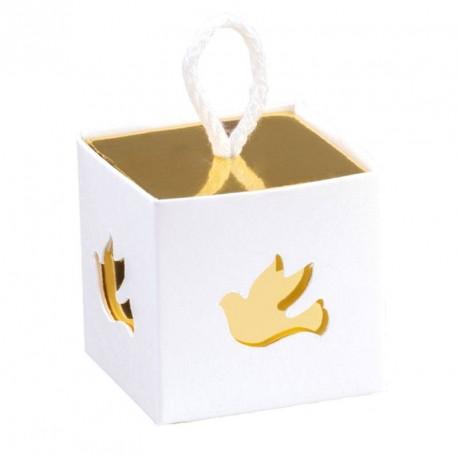 10 boites à dragées Colombes blanc et or