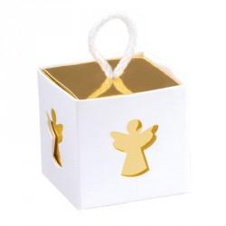 10 boites à dragées Ange blanc et or