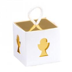 10 boites à dragées Calice blanche et or