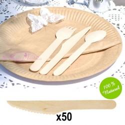 50 Couteaux en Bambou Biodégradables