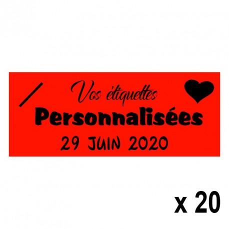 20 Etiquettes Rouges personnalisables Texte et Logo