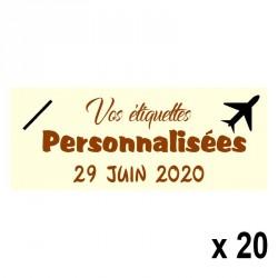 20 Etiquettes Ivoires personnalisables Texte et Logo
