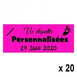 20 Etiquettes Fuchsia personnalisables Texte et Logo