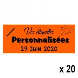 20 Etiquettes Orange personnalisables Texte et Logo