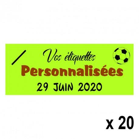 20 Etiquettes Vertes personnalisables Texte et Logo