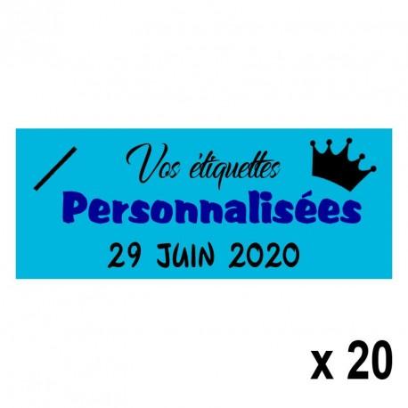 20 Etiquettes Turquoises personnalisables Texte et Logo