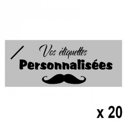 20 Etiquettes Grises personnalisables Texte et Logo