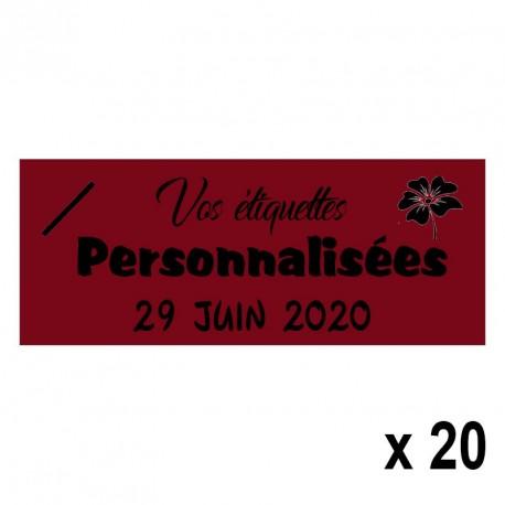 20 Etiquettes Bordeaux personnalisables Texte et Logo