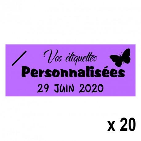 20 Etiquettes Lilas personnalisables Texte et Logo
