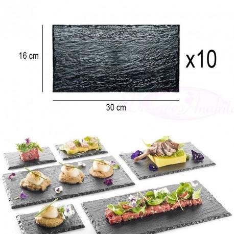 10 assiettes plateaux effet ardoise 30 x 16cm