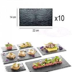 10 Assiettes plateaux effet ardoise 22 x 14cm