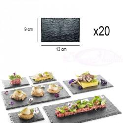 20 Assiettes plateaux effet ardoise 13 x 9cm