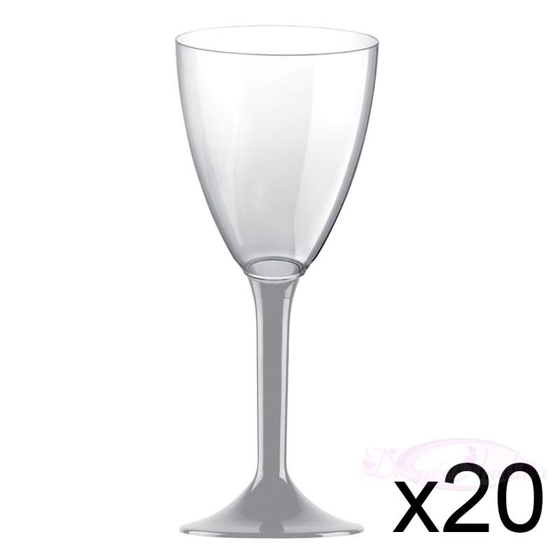 20 verres à Vin plastique gris