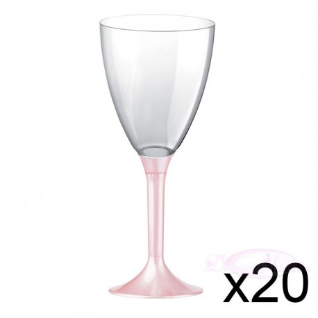 20 verres à Vin plastique rose nacré