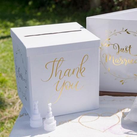 Urne thank you blanche et or pour mariage ou autres fêtes