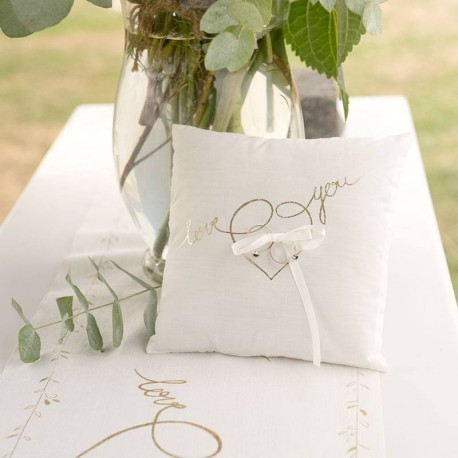 Coussin alliance blanc et or Love you