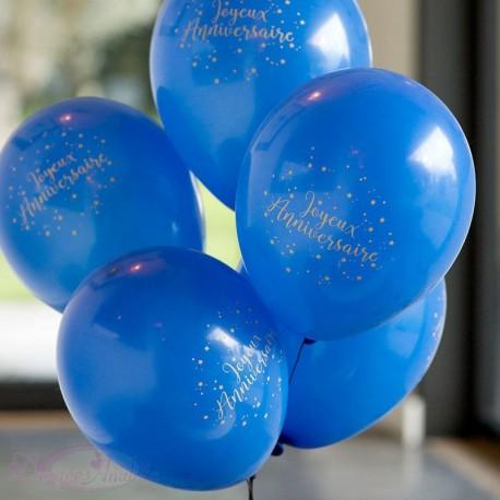 8 Ballons Joyeux Anniversaire Marine et Or