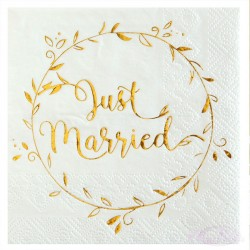 20 Serviettes Just Married Blanches et Or