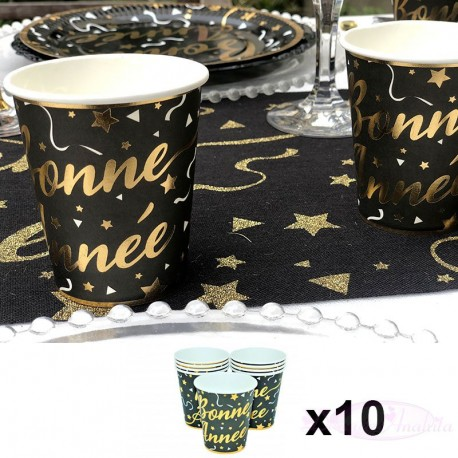 10 gobelets Bonne Année Noir et Or