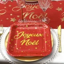 10 Assiettes Joyeux Noël rouge et or