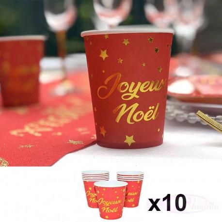 10 Gobelets Joyeux Noël Rouge et Or