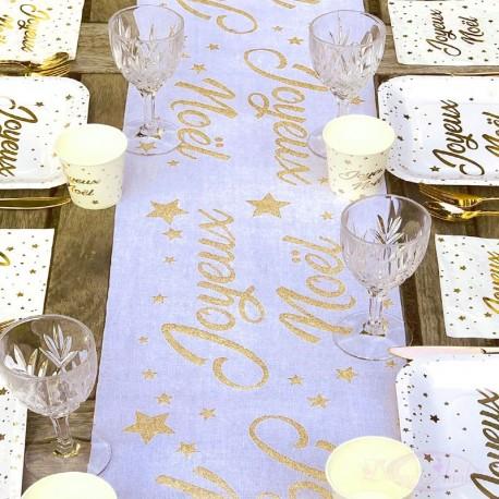 Chemin de table Joyeux Noël blanc et or
