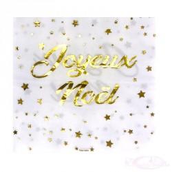 20 serviettes Joyeux Noël blanches et or