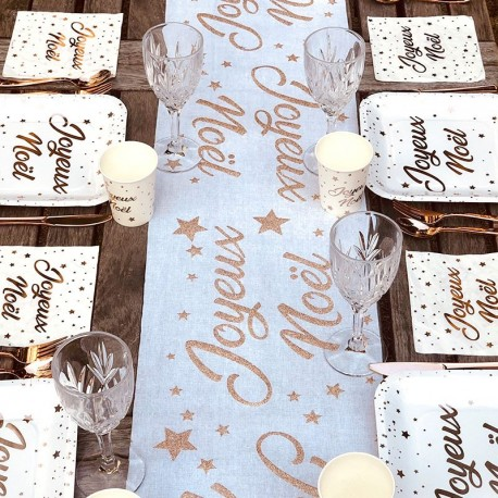 Chemin de table Joyeux Noël Rose Gold
