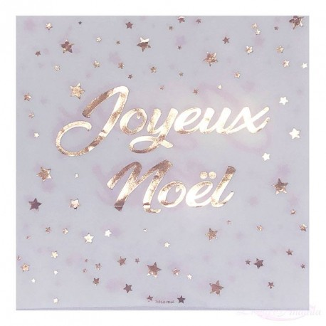 20 serviettes Joyeux Noël Rose Gold