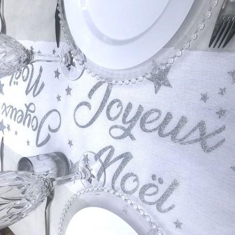 Chemin de table Joyeux Noël blanc et argent