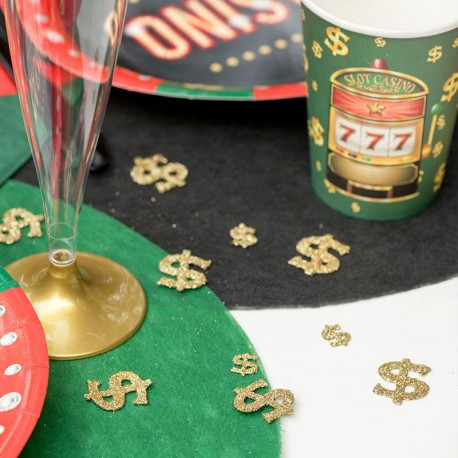Confettis de table casino Or