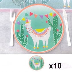 10 assiettes thème Lama