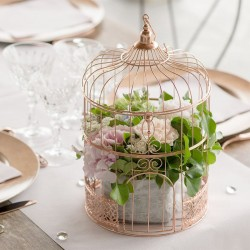 Cage Rose Gold Tirelire ou centre de table