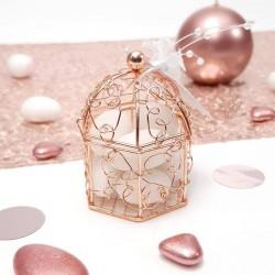 Contenant dragées cage Rose Gold