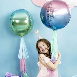 Ballon rond métalisé violet et bleu