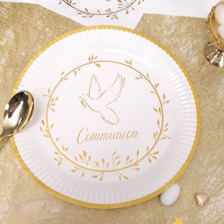 10 assiettes communion Blanche et Or
