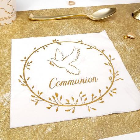 10 Serviettes communion Blanches et Or