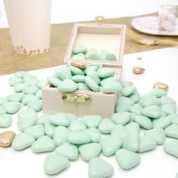 Dragées coeur chocolat Vert d'eau 1kg
