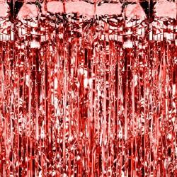 Rideau à franges rouge 90 x 250cm