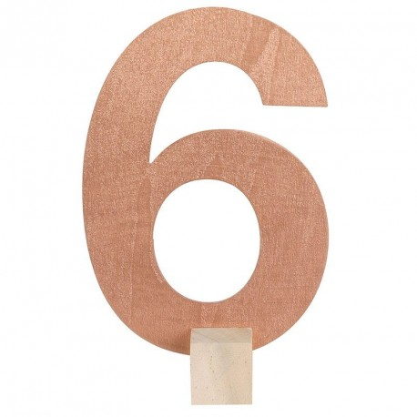 Marque table Rose Gold chiffre 6