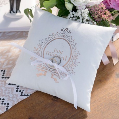 Coussin pour alliances Just Married Rose Gold