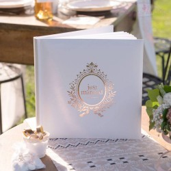 Livre d'or mariage Just Married rose gold