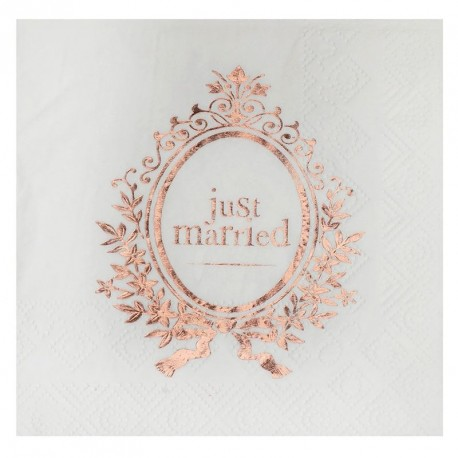 10 Serviettes Just Married rose gold
