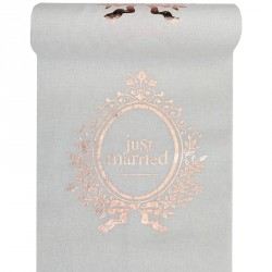 Chemin de table Just Married rose gold
