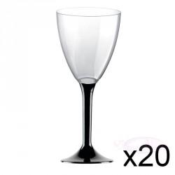 20 verres à Vin plastique Noir