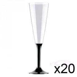 20 Flûtes à Champagne plastique noires 16cl