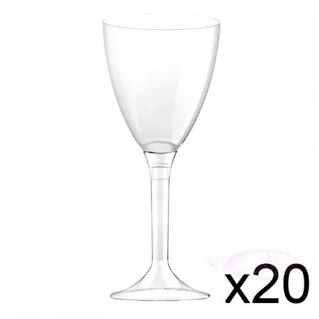 20 verres à Vin plastique transparents