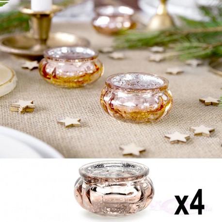 4 Photophores bougeoires Rose Gold en verre
