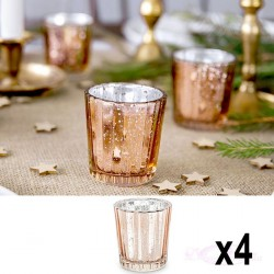 4 Photophores Rose Gold en verre